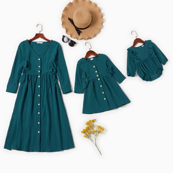 Mommy and Me Bowknot Decor Long-sleeve Solid Dresses