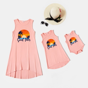 Good Vibes Sunset Pattern Printed Dresses for Mommy and Me