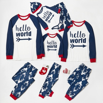 Letter Print Family Matching Pajamas Sets(Flame resistant)