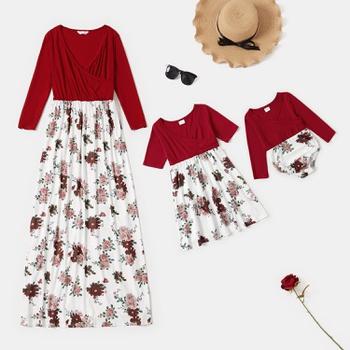 Floral Splice Print Matching Dresses