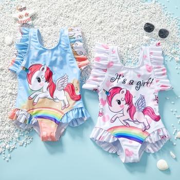 Stylish Unicorn Rainbow Love Print Ruffled Swimsuit