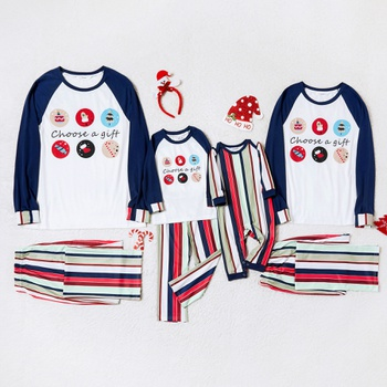 Family Matching Christmas Gift Print Striped Pajamas Sets (Flame Resistant)