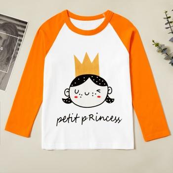 Trendy Crown Princess Letter Print Longsleeves Tee