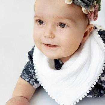 Double Layer Cotton Baby Burp Lace Tassel Cartoon Triangular Bip Toddler Saliva Towel Feeding Scarf