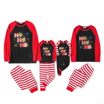 Mosaic Cotton Ho Ho Ho Snowflake Top and Stripe Pants Christmas Pajamas Sets