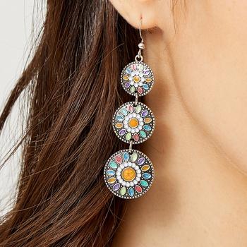 Indian Retro Creative Drop Oil Round Drop Alloy Earrings