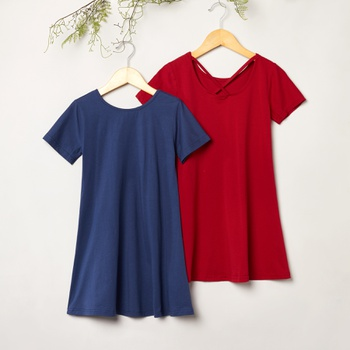 Fashionable Solid Short-sleeve Dresses