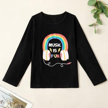 Fashionable Rainbow Headset Print Longsleeves Tee