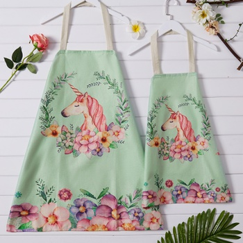 Unicorn and Flower Print Linen Aprons for Mommy and Me