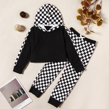 Trendy Plaid Hooded Sweatshirt and Pants Set