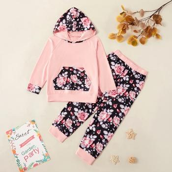 Kids Girl Floral Pocket Hooded Sweatshirt and Allover Pants Set
