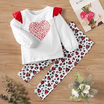 2-piece Baby / Toddler Heart Leopard Print Set of Valentine