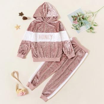 Kids Girl Letter Hooded Sweatshirt and Pants Set