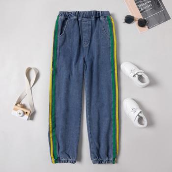 Trendy Striped Denim Elasticized  Jeans