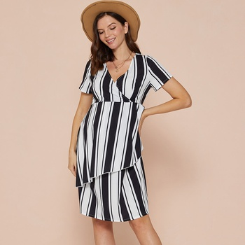 Maternity V-neck Stripes full print Black/White Knee length Irregular skirt Short-sleeve Nursing Dress