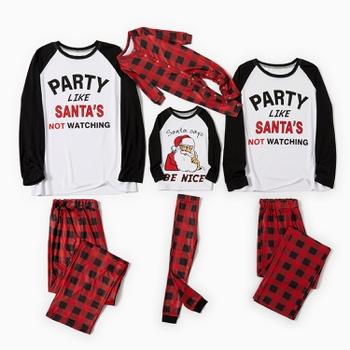 Family Matching Letter and Santa Print Plaid Christmas Pajamas Sets
