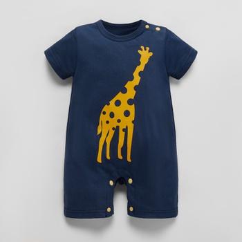 Baby Giraffe Print Round Neck  Romper