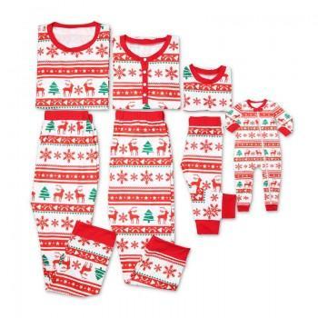 Happy Christmas Deer and Snowflake Pattern Family Matching Pajamas