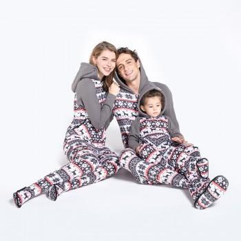 Cozy Snowflake Plush Matching Onesie Pajamas in Grey