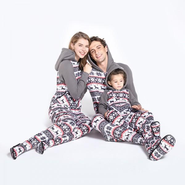 Cozy Snowflake Plush Matching Onesie Christmas Pajamas in Grey