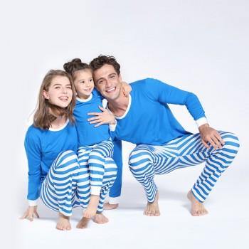 Classic Family Striped Pajamas Set in Blue