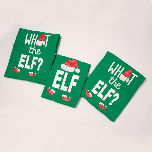 What The Elf Funny Family Christmas Pajama Set in Green