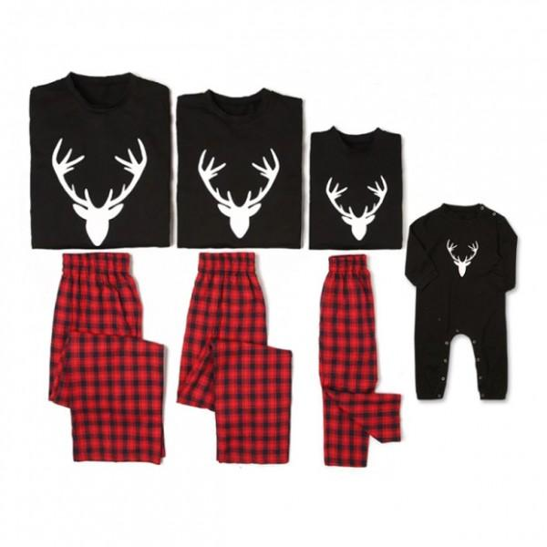Christmas Deer Printed Plaid Pajama Set for Family