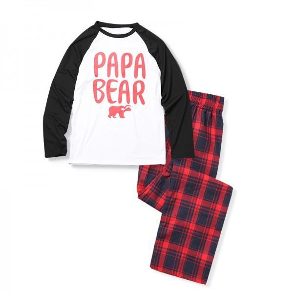 2-piece Bear Printed Family Matching Christmas Pajamas