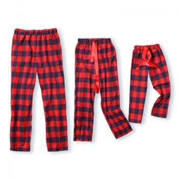Christmas Red Plaid Ribbon Pajama Pants for Family