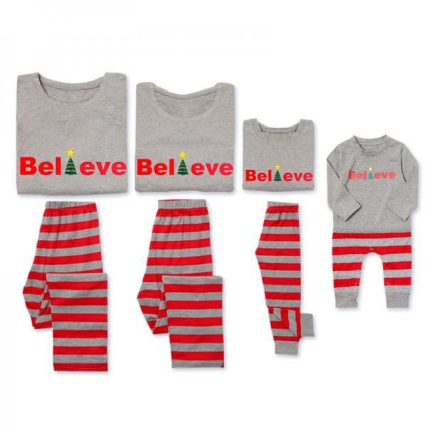 'Believe' Comfy Family Striped Pajamas