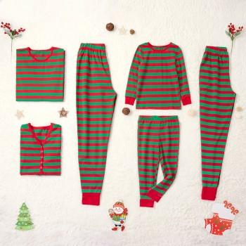 Christmas Spirt Red and Green Striped Family Pajamas