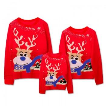 Super Cute Christmas Reindeer Family Sweaters