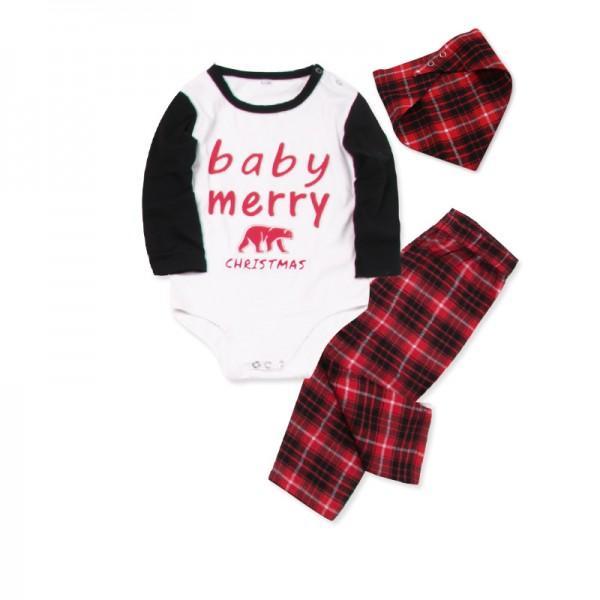2-piece Merry Christmas Bear Family Matching Contrast T-shirt and Plaid Pants Pajamas Set