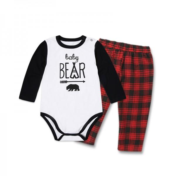 2-piece Family Bear Print Matching Contrast T-shirt and Plaid Pants Set