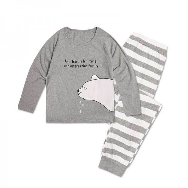 Adorable Sleeping Bear Print Family Matching Pajamas Set in Grey