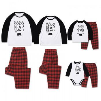 2 Piece Family Bear Print Matching Contrast T Shirt And Plaid Pants Set