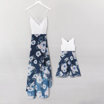 Awesome Lace Floral Sleeveless Dress for Mom and Me
