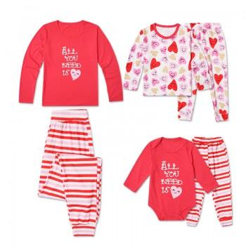 2-piece 'All You Need is Love' Print Matching Family Pajamas Set for Mom and Kids