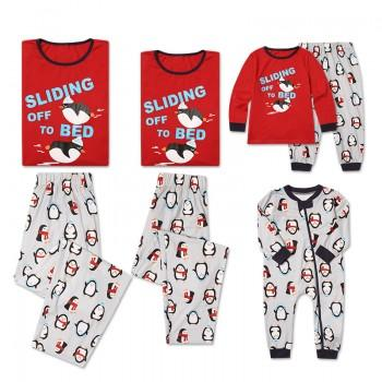 Funny 'Sliding off to Bed' Penguin Printed Long Sleeve Matching Pajamas Set