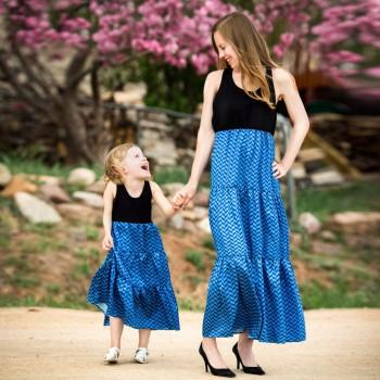 Blue Stripes Sleeveless Maxi Dress for Mom and Me