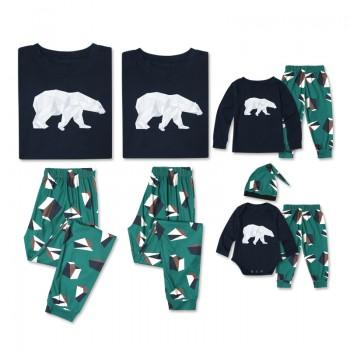 Unique Low Poly Bear Printed Long Sleeve Matching Pajamas Set
