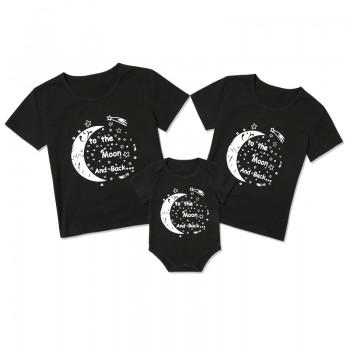 'I Love You to the Moon and Back' Matching Tee in Black