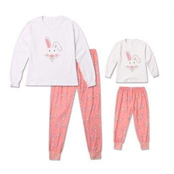 2-piece Lovely Bunny Long Sleeve Pajamas Set for Mom and Me