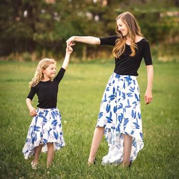 2-piece Pretty Floral Printed Dress Set for Mom and Me