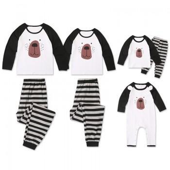 Adorable Stripes Bear Long Sleeve Family Pajamas Set