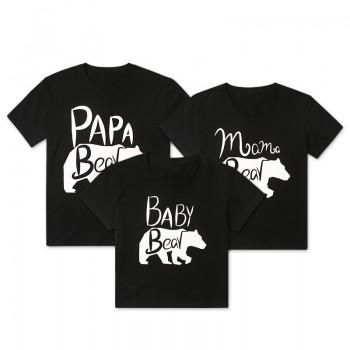 Family Bear Print Short-sleeve Matching Tee in Black