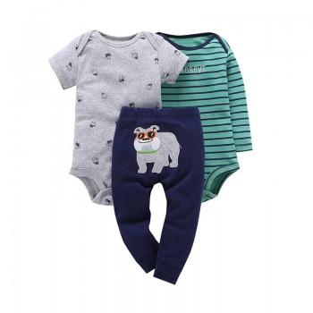 3-piece Lovely Dog Print Bodysuit and Pants Set for Baby