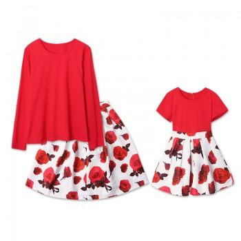 Mom and Me Floral Printed Matching Dress in Red