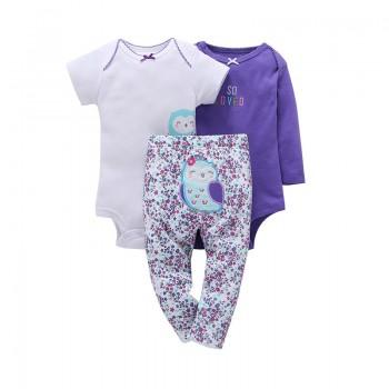 3-piece Lovely Floral Animal Bodysuit and Leggings Set for Baby Girls