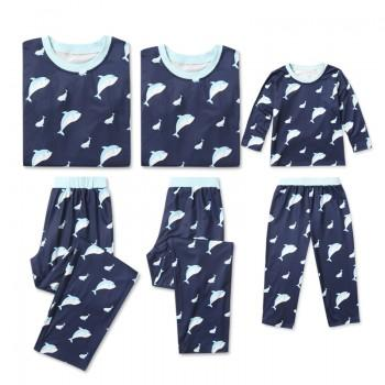 Adorable Dolphin Printed Long Sleeve Matching Pajamas Set in Navy